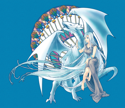 BlueEyes White Dragon and Maiden with Eyes of Blue by akensnest