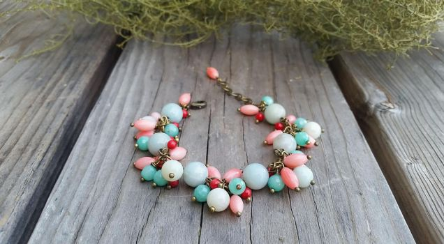 Pink Red coral Blue agate Amazonite bracelet by Joshou