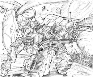 Gundam Vs. Prime by CdubbArt