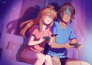 Rishi x Elly Playing Games (Comm) by loveedreams