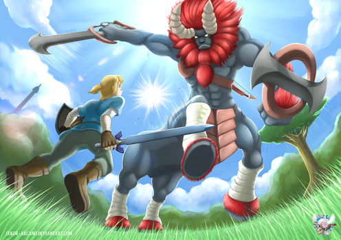 BotW - Link Vs Lynel by Color-Arcano