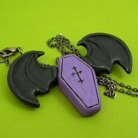 Bat Winged Coffin Necklace by True-Crimeberry