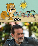 Negan's reaction to Lincoln in the squirrel suit by Bry-Guy