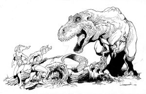 Dinosaur Convention Sketch by aaronlopresti
