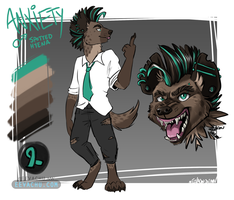 Anxiety the Spotted Hyena Ref Sheet by Eevachu
