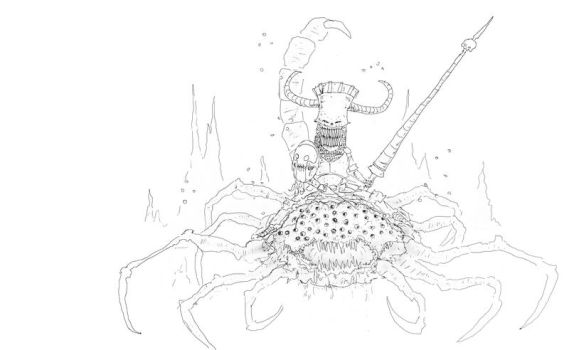 Tooth fairy warrior riding a scorpio spider by basler2