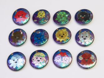 Holographic Zodiac Octopus Pin Back Buttons by egyptianruin