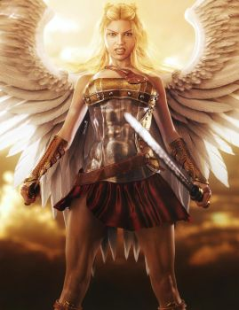 Blonde Female Angel of War, Fantasy Iray 3D-Art by shibashake