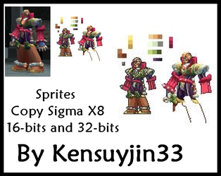 Sprites Copy Sigma Megaman X8 16-bits and 32-bits by kensuyjin33