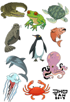 sea or water animals cliparts by jinguj