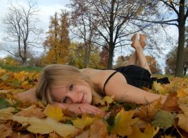 Lying in the leaves by 1Honey1
