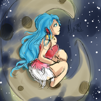 Redo of an Old Drawing Yuki on The Moon by Voiii