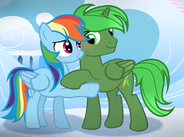 Rainbow Dash And Green Thunder by alizeethepony2008