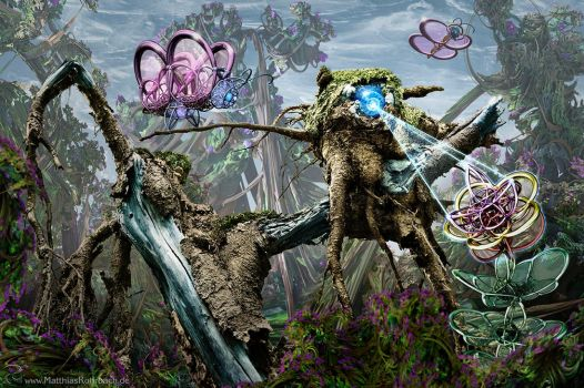 wooden cyclops gnome explores a fractal forest by MatzeR