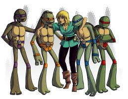 Turtles and a Lady by Qyzex