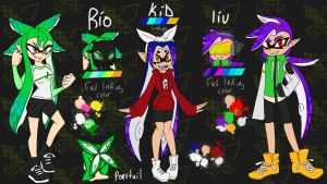 Rio, kid and  liu splatoon characters by AK-47x