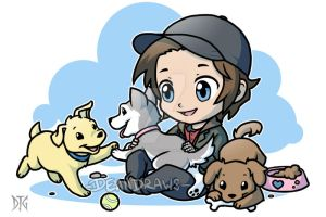 Commission - Bucky chibi with puppies by DeanGrayson