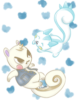 ACNL + POKMN - Marshal and Pachirisu by CodeNameBlueLover