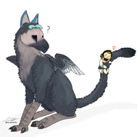 Fanart Squeezie and Trico (The Last Guardian) by LuanaLaPygargue
