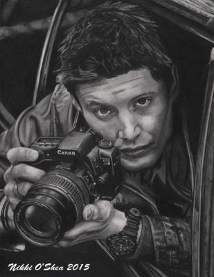 Jensen Ackles with Camera - Graphite Portrait by DragonPress