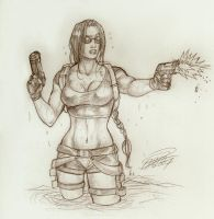 Lara in water, updated by Holly-the-Laing