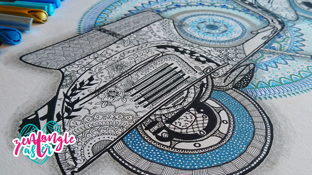 Mandala Zentangle Scooter illustration / ZIA by AsterBarnes