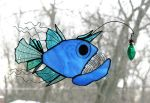 Deep Sea Anglerfish Stained Glass Suncatcher by trilobiteglassworks