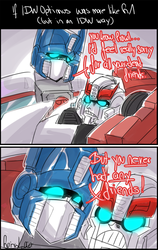 If IDW Optimus was like G1 Optimus by VolverseLoco
