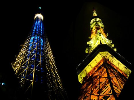 The Two Towers of Tokyo by taylorem
