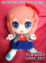 Blushing Sayori Plush open jacket smaller bow ver. by Flowery-Cemetery