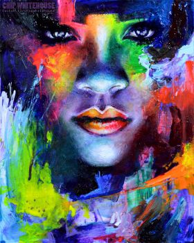 Rihanna Colors Painting by ChipWhitehouse