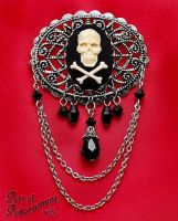Pirate Skull Cameo Brooch by Valerian