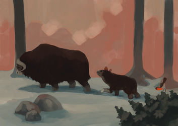 Musk Oxes by Limely