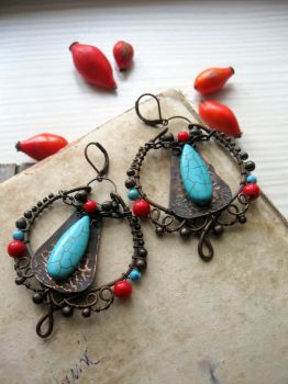 Gypsy Bohemian Wire Wrapped Earrings by Lirimaer86