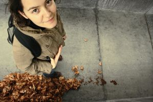 autumn leaves by yellowish