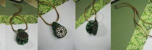 Emerald Drop - Beaded Bobbin Necklace by DanielleDucrest