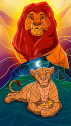 Stained glass Family of lions #1 - The Lion King by nubilum93