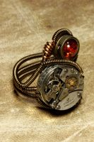 Steampunk Ring Amber and Watch Movement 2 by CatherinetteRings