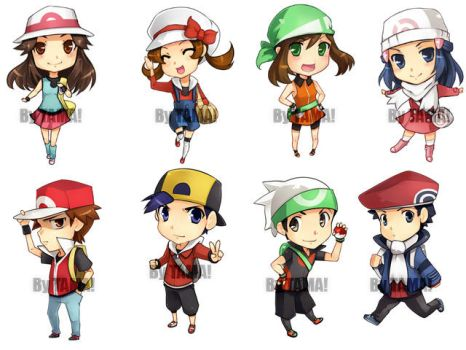 Pkmn - Chibi Trainers by LazyTurtle