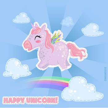 Happy unicorn is happy by Ombreuse