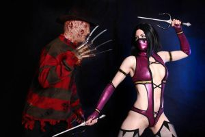 Cosplay Mileena and Freddy Kruege. Mortal Combat 9 by AsherWarr