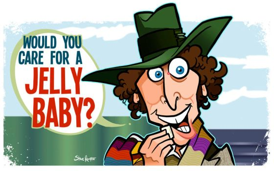 Care for a Jelly? Doctor Who Tom Baker Caricature by binarygodcom