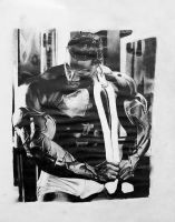 Body builder drawing by ProfessorPicasso