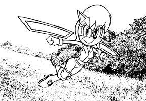 Sally Acorn Leaps with Wrist Blades (Inked) by Big-Al-Son86