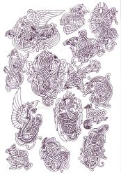Zoomorphic knotwork doodle page by Feivelyn