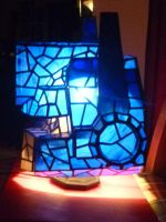 Optimus Prime Stained Glass Helmet Desk Lamp Side by mclanesmemories