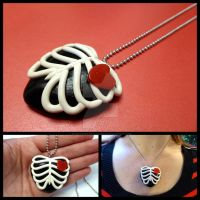 Rib Cage Heart Pendant by right2bearcharms