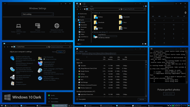 Dark High Contrast Theme For Windows 10 by Generation-Blue
