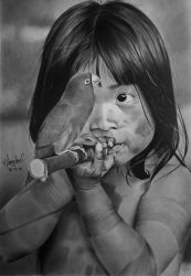 Brazilian Indian girl and bird by doguinha