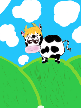 Cow on a mountain by elmo6543